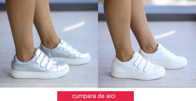 Adidasi dama argintii, albi online ieftini si frumosi de vara