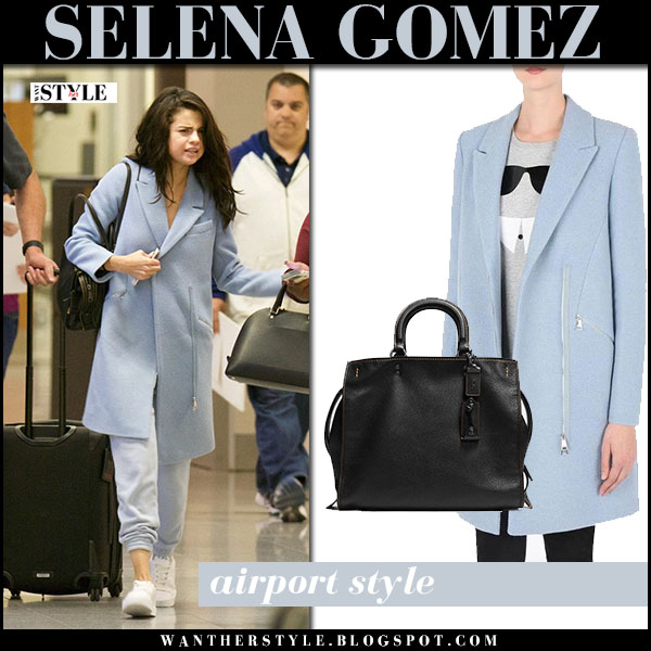 Selena Gomez in light blue wool coat karl lagerfeld what she wore airport style