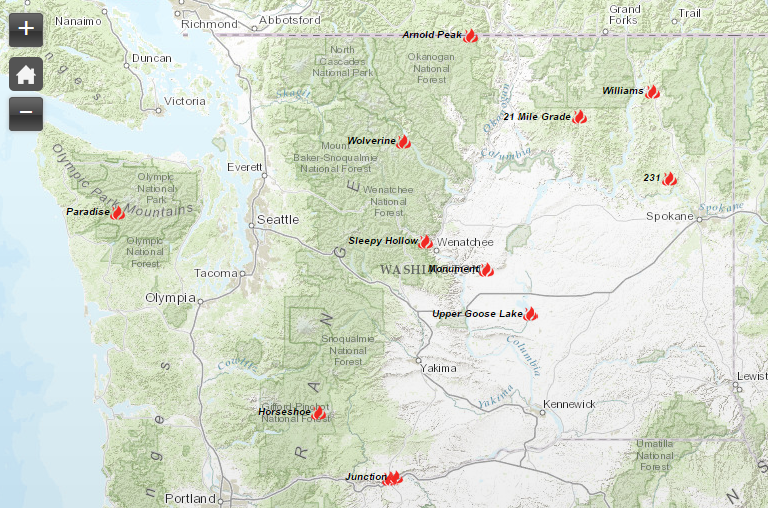 Washington S Top 10 Wildfires Range From 11 500 To 305 000 Acres
