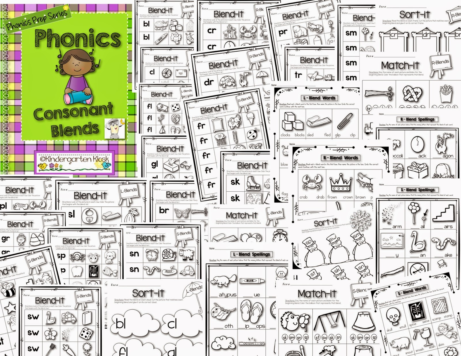 Kindergarten Kiosk Phonics Consonant Blends For Early Readers