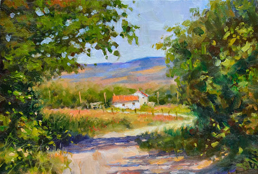 French Farm house - Landscape oil painting on Gesso. Countryside of France