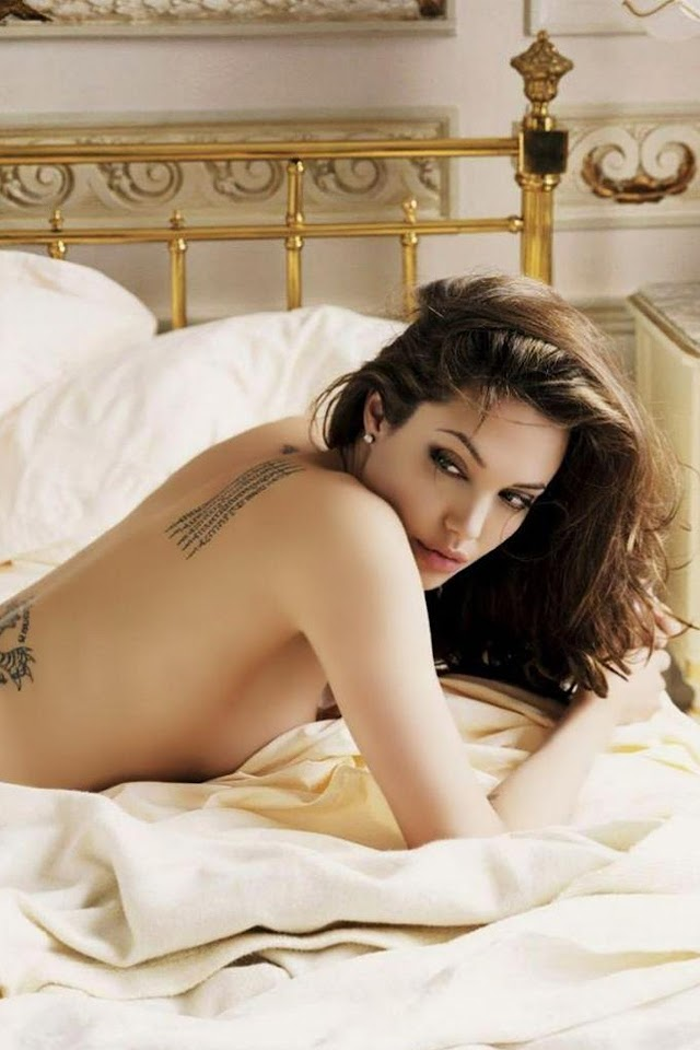 Angelina Jolie Sexy Tattooed Back  Galaxy Note HD Wallpaper