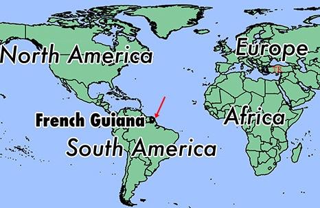 Fransız Guyanası Dünya Haritası