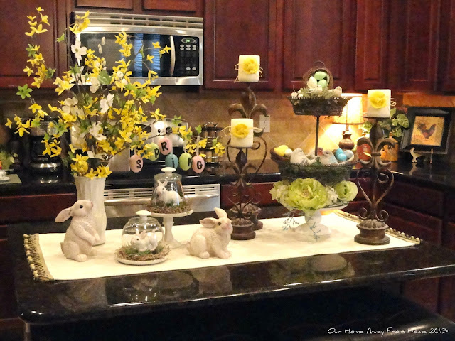 Our home away from home spring has arrived in our kitchen - How to decorate a kitchen island ...