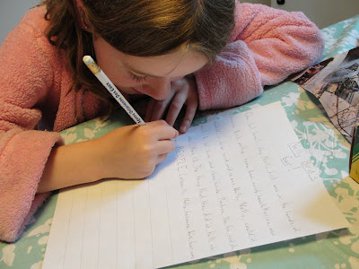 child writing a story