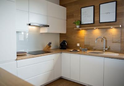 Küche Weiß Arbeitsplatte Holz