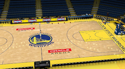 NBA 2K14 Warriors' Oracle Arena Court Mod