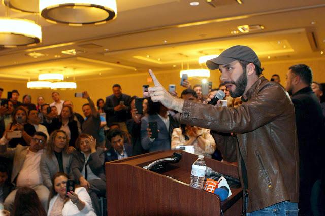 "Nayib Bukele en Washington: ""Le guste o no le guste, Mauricio Funes tendrá que enfrentar la justicia salvadoreña""."