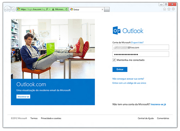 Inicialização do site do Outlook