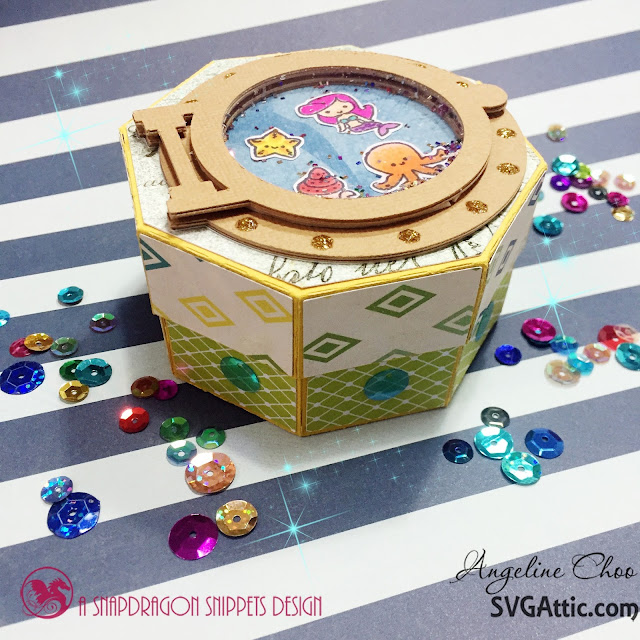 ScrappyScrappy: Shaker Clam Shell Box #svgattic #scrappyscrappy #underthesea #clamshellbox #shakercard #papercraft #svg #diecut #cutfile