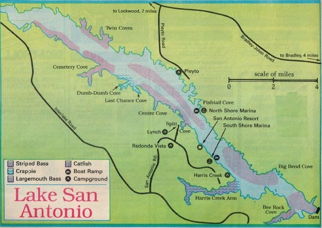 fishing map and Lake San Antonio fishing report, how to fish lake san antonio