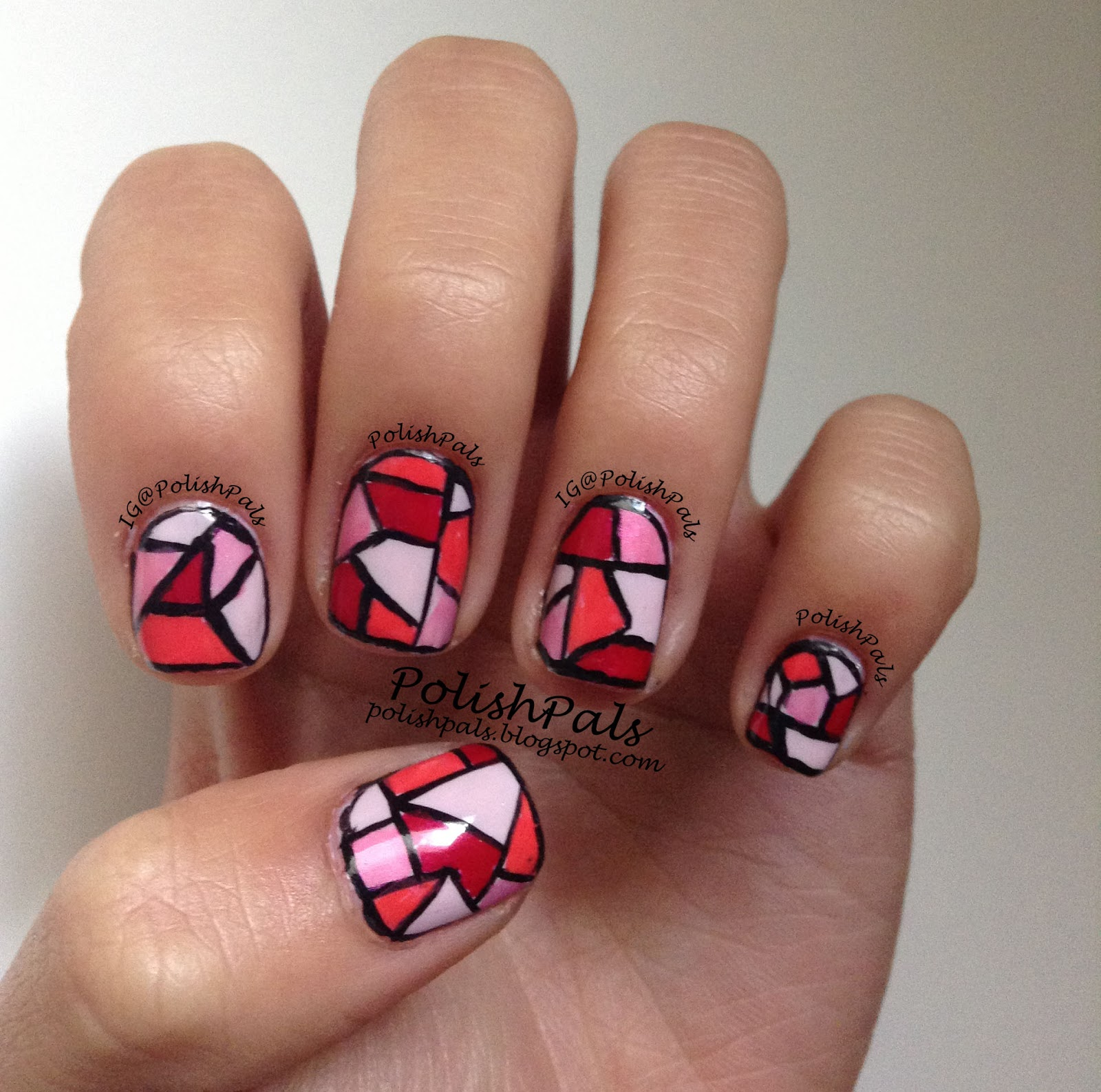 Stained Glass Nail Art: Polish Pals: Pink Stained Glass Nails