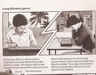 هذه الصورة عام 1970 تتوقع ان يستطيع البشر تحدي بعضهما البعض فى الألعاب عبر مئات الأميال بحلول عام 2000