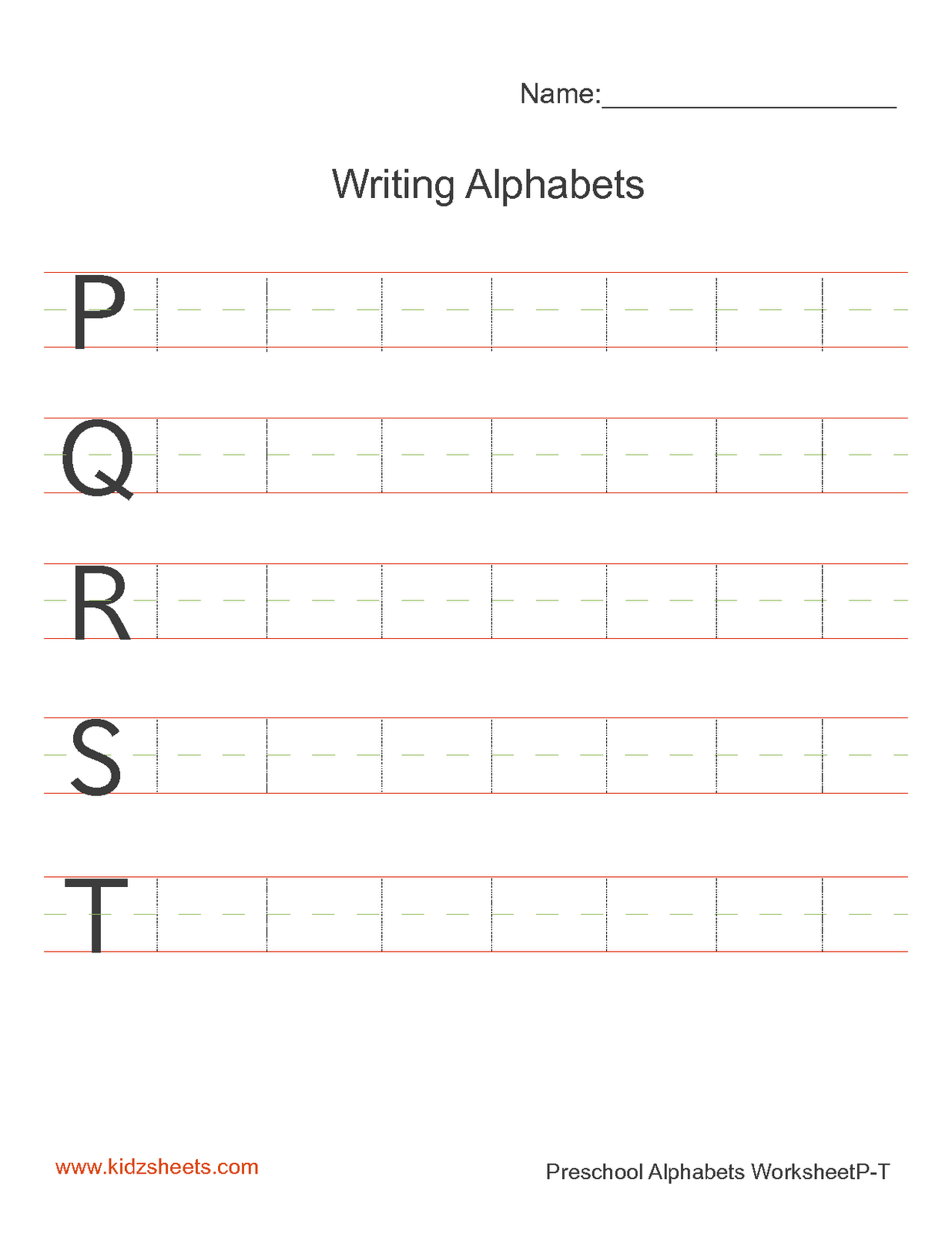 Kidz Worksheets Preschool Writing Alphabets Worksheet4