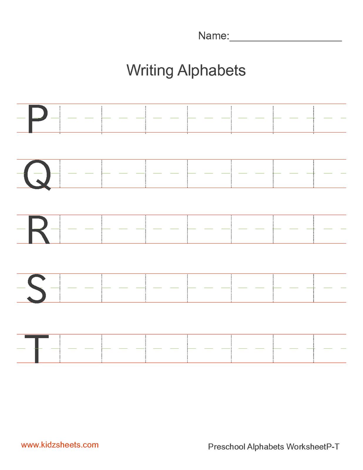 Kidz Worksheets Preschool Writing Alphabets Worksheet4