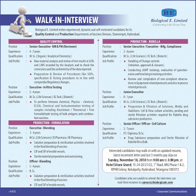 Biological E. Limited  Walk-In For Freshers & Experienced at 18 November