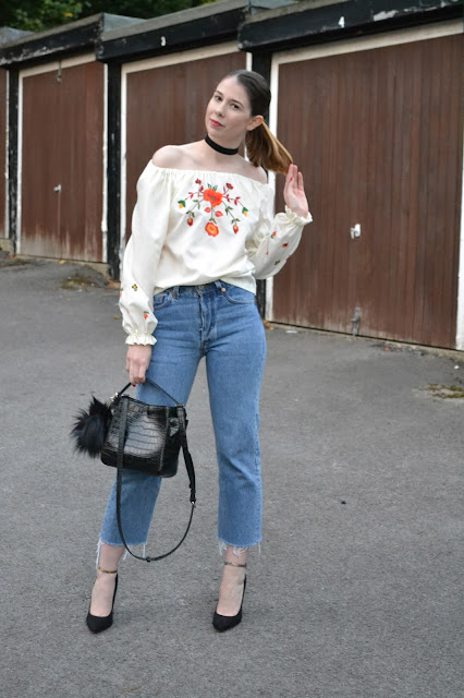 Affordable women's fashion blog, featuring vintage embroidery gypsy style off the shoulder top, Levi denim mom jeans. Black ASOS heels. Leather crocodile skin handbag from Zara