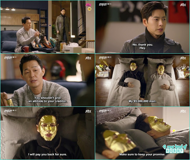 seol woo and woon gwang wear the golden face mask hold hand and sleep together -  Man To Man: Episode 10 korean drama