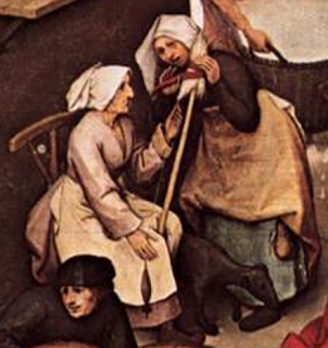 "Two women spinning, c.1559, detail from Bruegel's ""Netherlandish Proverbs"""