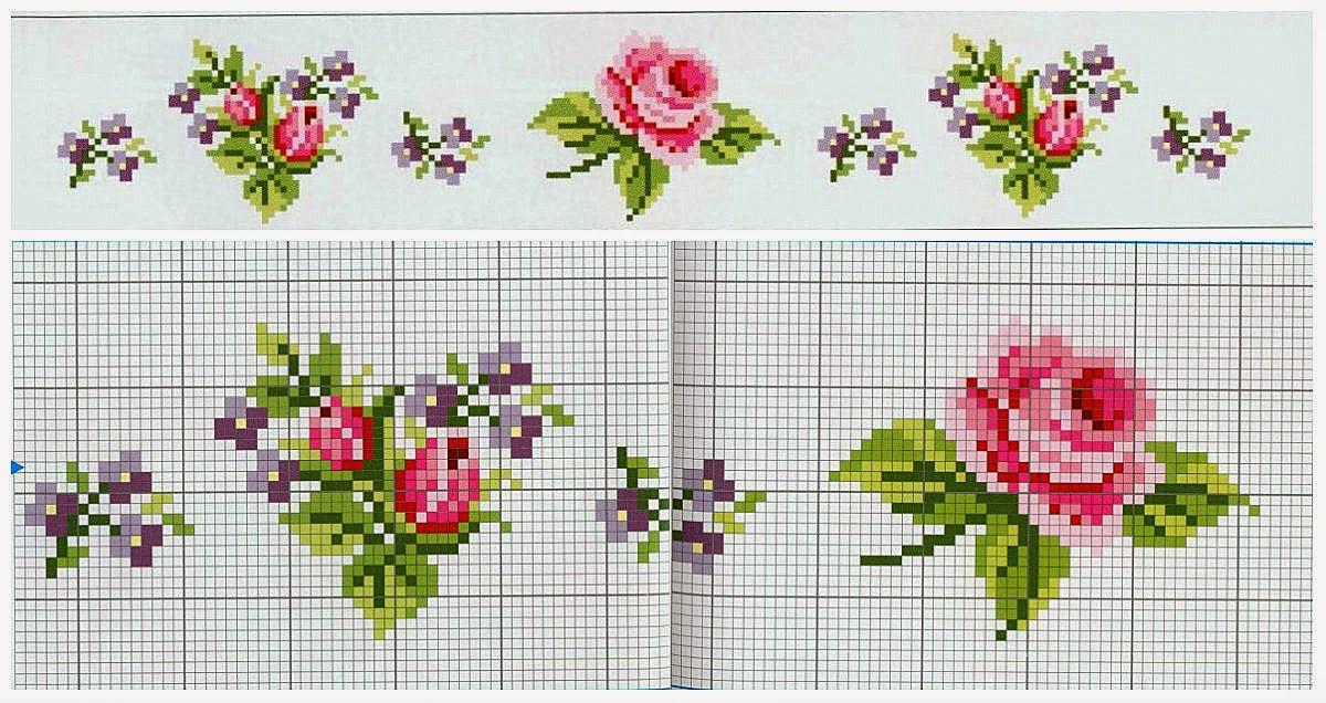 Схемы вышивки крестом маленькая роза
