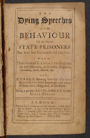 "A title page for ""The Dying Speeches and Behavior of the Several State Prisoners that have been Executed the Last 300 Years...."""
