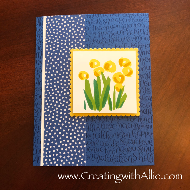 Check out the video tutorial with some AMAZING tips and tricks for making cards using Stampin' Up! abstract impressions stamp set!  You will love how quick and easy this is to make!  www.creatingwithallie.com #stampinup #alejandragomez #creatingwithallie #videotutorial #cardmaking #papercrafts #handmadegreetingcards #fun #creativity #makeacard #sendacard #stampingisfun