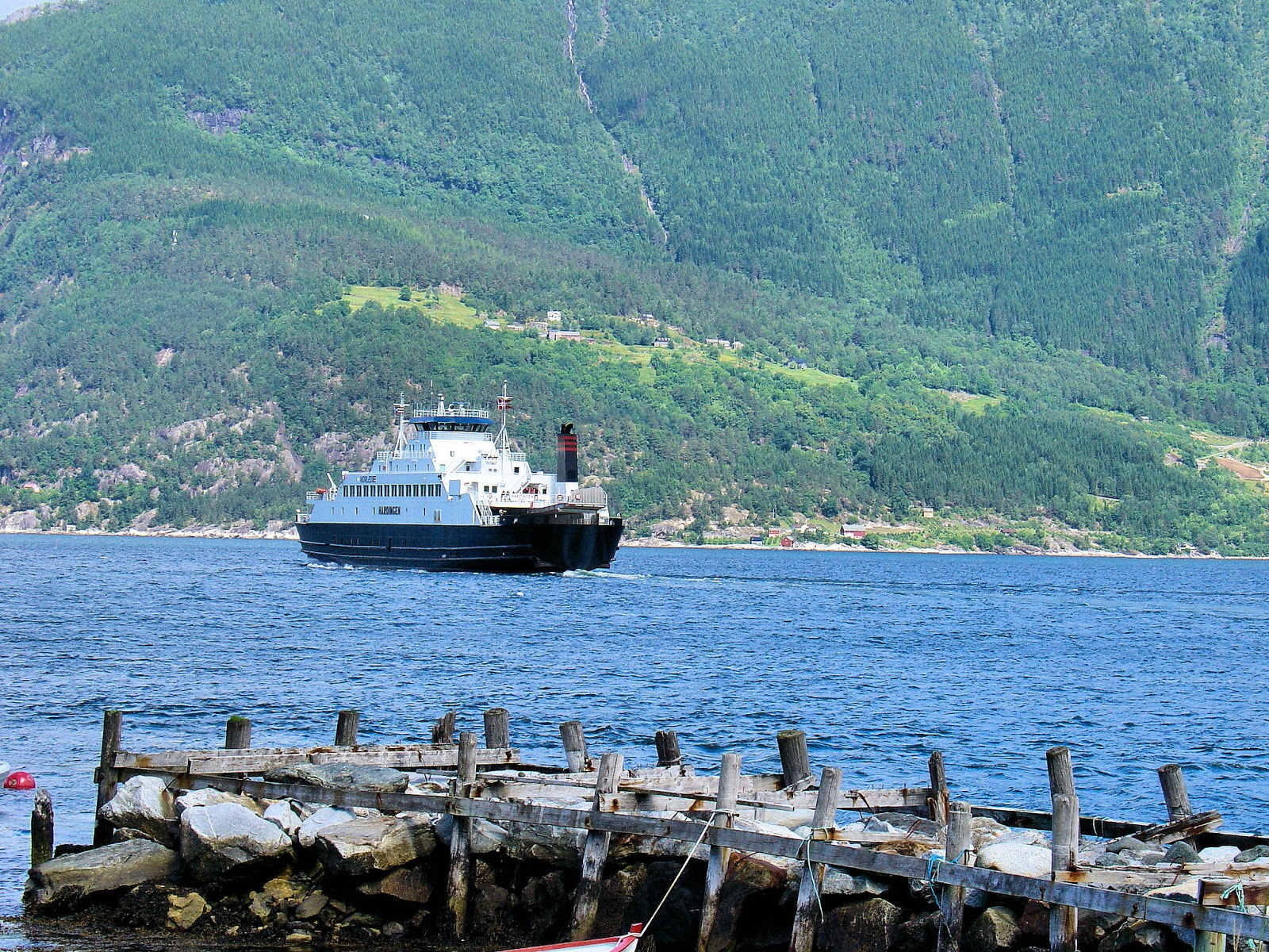 Our Hardangerfjord ferry just dropped us off in Utne, Norway.