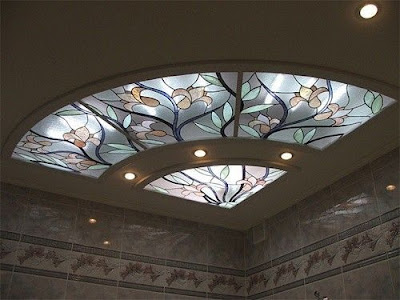 gypsum board false ceiling design with stained glass windows