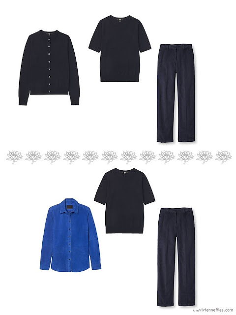 2 ways to wear navy corduroy pants in a 4 by 4 Wardrobe