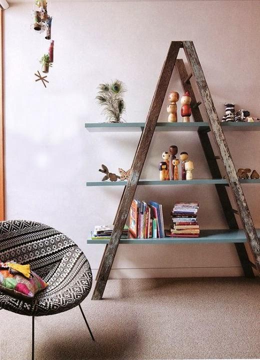 Mueble realizado con una vieja escalera de madera for Escalera madera adorno
