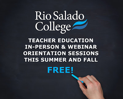 Chalk board with Rio Salado logo.  Hand with chalk.  Text: Teacher Education In-person and webinar orientation sessions this summer and fall.