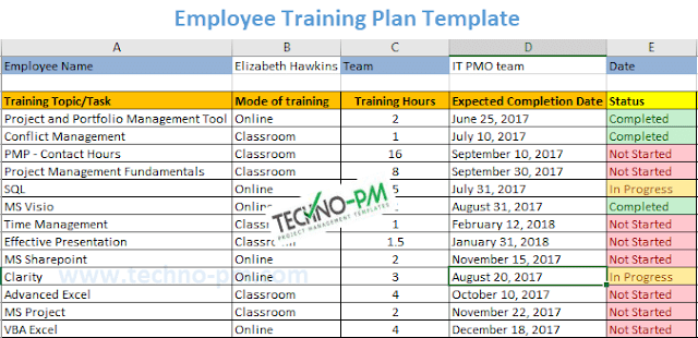 Employee Training Plan Excel Template
