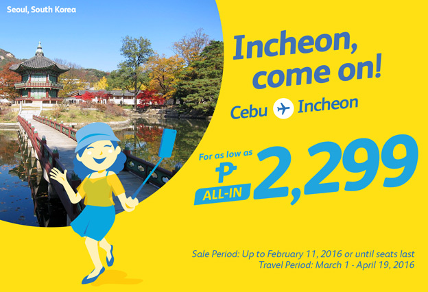 Cebu Pacific Cheap Flight Incheon Korea Promo