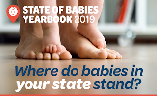 State of Babies Yearbook 2019: Where does your state stand?  Picture of adult feet with baby feet, along with Zero to Three logo