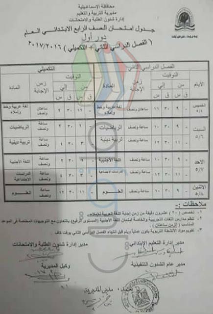 جدول امتحانات الصف الرابع الابتدائي 2017 الترم الثاني محافظة الاسماعيلية