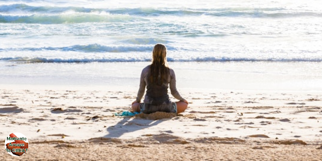 "Featured in the article: ""13 Habits That Can Absolutely Transform Your Life"". Meditate. Girl, meditation, beach, calm, sea, ocean, thoughts, peaceful moment, clarity, calm, mind"