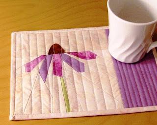 Purple Cone Flower Mug Rug