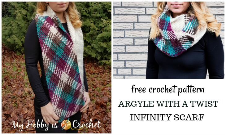 My Hobby Is Crochet Argyle With A Twist Infinity Scarf Free