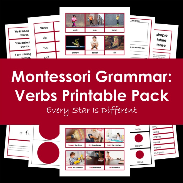 Montessori Grammar: Verbs Printable Pack