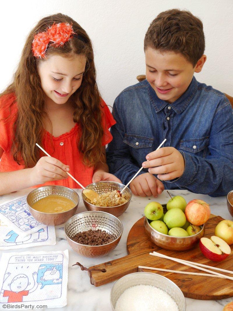 DIY Bar à Pommes Caramel - un dessert facile à réaliser et amusant pour les fêtes d'automne et goûter des enfants! by BirdsParty.fr @birdsparty