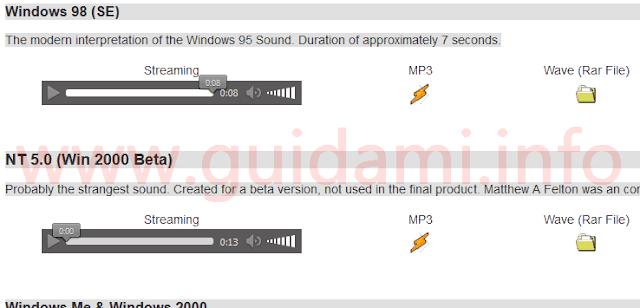 Scaricare suono di avvio vecchie versioni di Windows