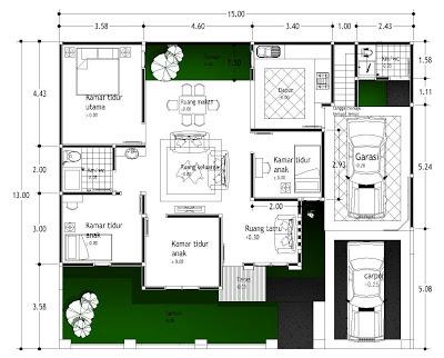 lahan ini lumayan luas untuk membuat desain denah rumah yang ideal Denah Rumah 4 Kamar Type 130