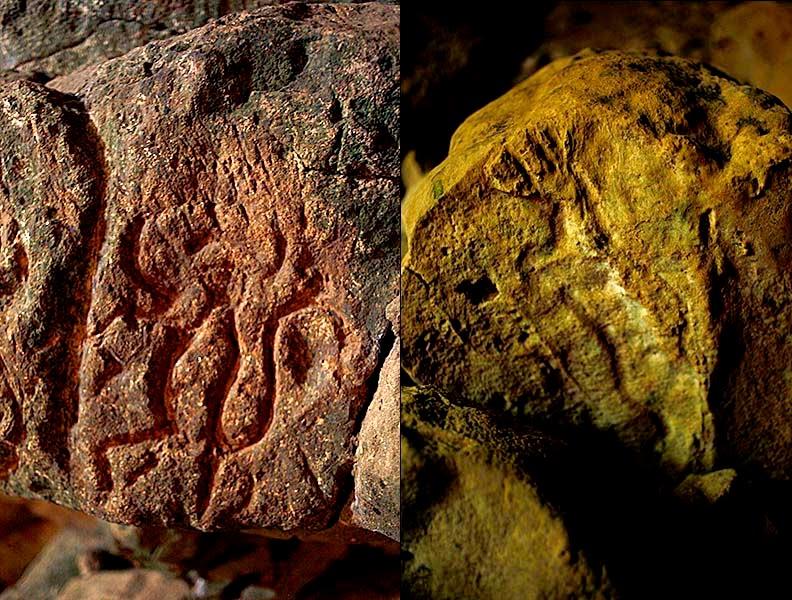 Otros dos guardianes de gran tamaño guardan el centro de la cueva, dos figuras humanas grandes e imponentes que cuando se las alumbra con las linternas desaparecen.  Más adelante vemos dos figuras grabadas en la piedra con representaciones de dos animales sagrados: un venado y un mono araña.