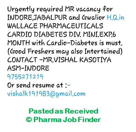 Wallace Pharmaceuticals - Urgently Required Fresher