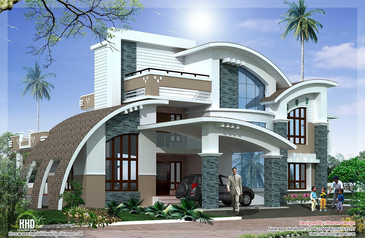 Modern mix luxury home design kerala home design and for Modern luxury villa design