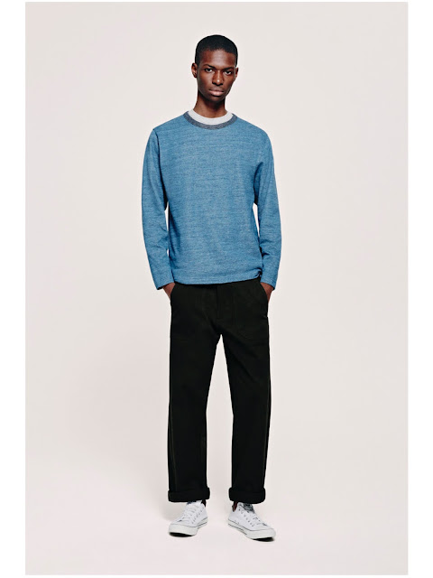 Jijibaba blue sweater and black chinos
