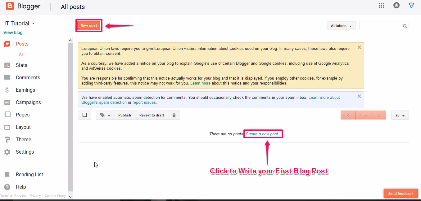 Create A New Blog Post Blogger