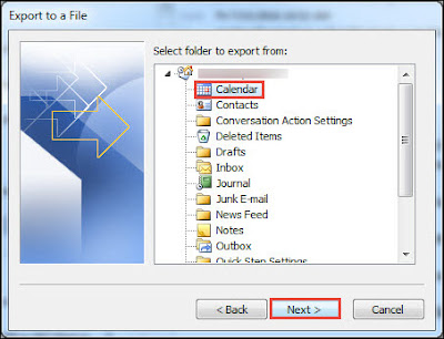 select folder to export from - Export Calendar From Outlook to Excel