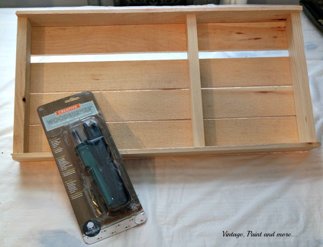 rustic pallet tray and woodburning tool from Walnut Hallow
