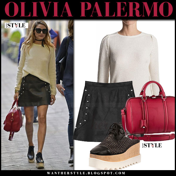 Olivia Palermo in beige knit strom sweater, black studded leather saint laurent mini skirt and black platform shoes stella mccartney elyse what she wore